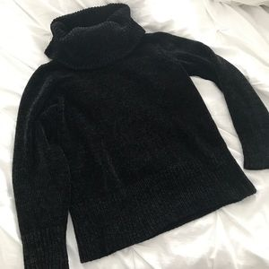 Chunky neck chenille sweater